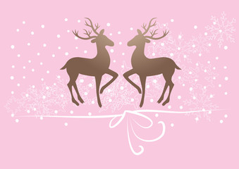 reindeer, deer on pink background, snow, gift ribbon