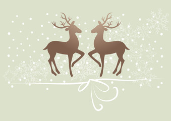 reindeer, deer on green background, snow, gift ribbon