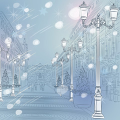 Vector winter Christmas Cityscape, avenue with vintage buildings