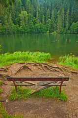 Famous Red Lake in Transylvania, Romania in summer