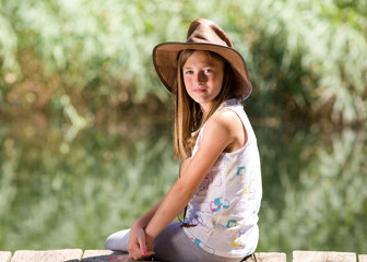 Girll with cowboy hat
