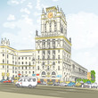 Vector color sketch of a city-center