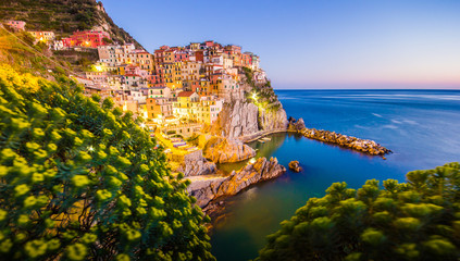Cinque Terre National Park, Manarola at sunset, Italy