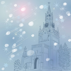 Vector winter Christmas cityscape of the Moscow Kremlin, Russia