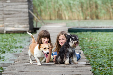 Girls and dogs