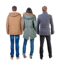 Back view group of people in jacket.