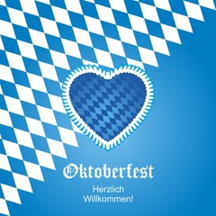 Oktoberfest heart flag background vector