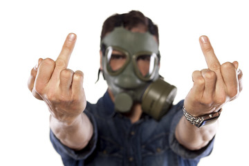 man with a gas mask showing middle fingers up