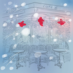 vector Christmas winter sketch of the Parisian cafe