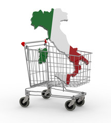 Italy 3d map into shopping cart