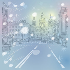 Vector Christmas winter Cityscape, avenue with views of the chur