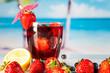 Tropical drinks on beach