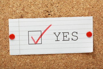A tick box for Yes on a cork notice board