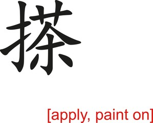 Chinese Sign for apply, paint on