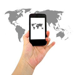 smart phone with world map