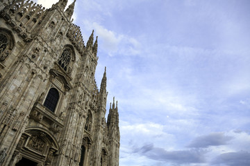 Facade of the Duomo in Milan, perspective. Color image