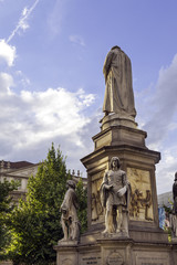 Leonardo monument, Milan, Piazza della Scala. Color image