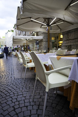 Restaurant dehor in Milan city centre. Color image