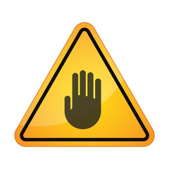 Danger sign with a hand