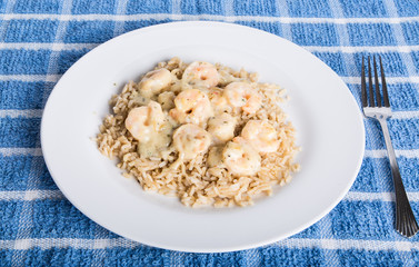 Shrimp Scampi on Brown Rice with Fork