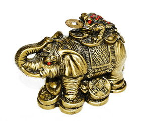 BRONZE ELEPHANT ON WHITE BACKGROUND