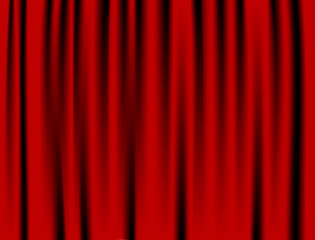 Luxury creases red curtain and many shadows