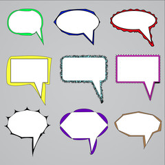 Vector set of speech and think bubbles