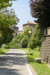 Castle and out the walls road view from south east, Soncino