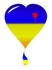 Ukraine heart vector nacional flag