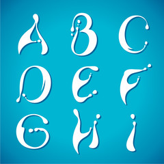 Vector water milky alphabet