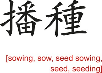 Chinese Sign for sowing, sow, seed sowing, seed, seeding