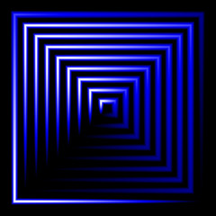 Blue neon square vector background