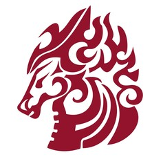 Flaming horse head in tribal style. Red on the white