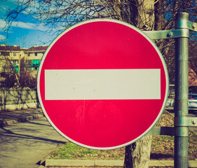 Retro look No entry sign
