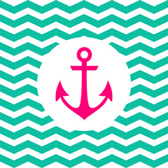 Simple geometric nautical card with anchor