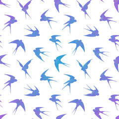 Stylish geometric seamless pattern with swallows