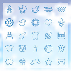 25 baby, kids icons set