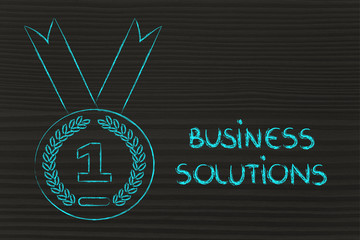 best business solution, gold medal symbol