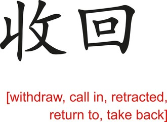 Chinese Sign for withdraw,call in,retracted,return to,take back