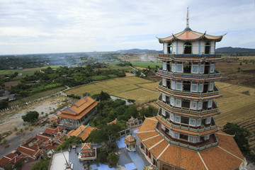 top view of chinese pagoda wat tum khao noi temple in kanchaburi