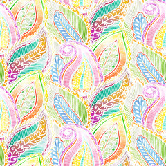 Seamless ethnic pattern white