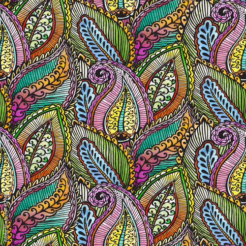 Seamless ethnic pattern black - 67412948
