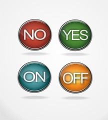 Yes no on off 3D buttons