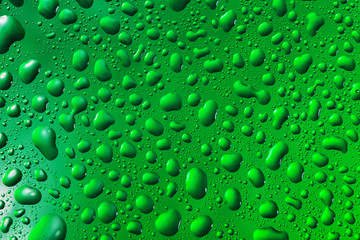 green water drops on the surface