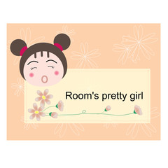 vector room's pretty girl label