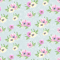 Seamless watercolor flowers background pattern