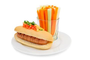 Healthy hotdog on plate isolated