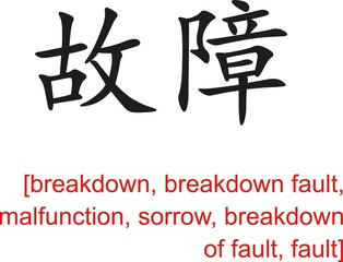 Chinese Sign for breakdown, malfunction, sorrow, fault