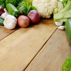 Fresh green vegetable set