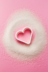Heart shaped cookie cutter with sugar